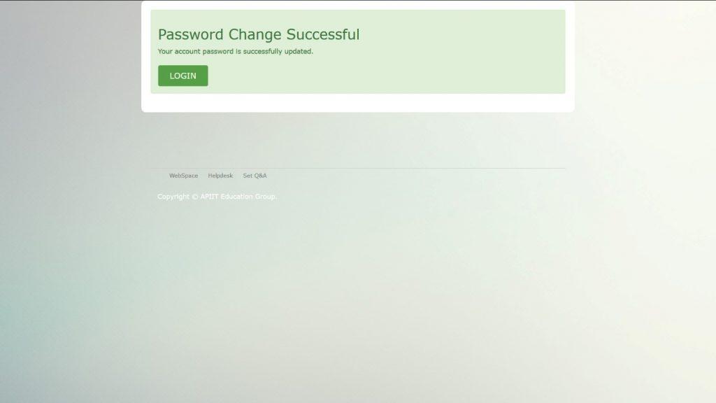 Password change success screen
